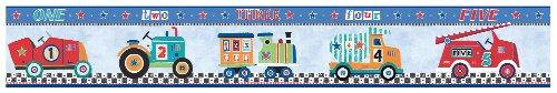 York Wallcoverings YS9130BD Peek-A-Boo Cars Border, Denim Blue/Powder Blue/Mint Green/Orange/Red/Black/White (Border Train Wallpaper)