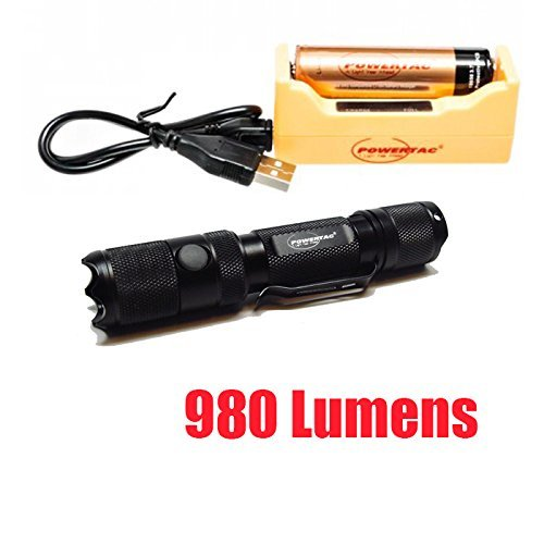Bundle: PowerTac E5 Gen4 980 Lumens CREE XM-L2 LED Flashlight Firefly and Strobe with 18650 3400mAh USB Rechargeable Kit by PowerTac E5 Recharge Kit