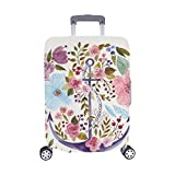 Hand Drawn Adorable Anchor With Flowers In Waterco Pattern Spandex Trolley Case Travel Luggage Protector Suitcase Cover 28.5 X 20.5 Inch