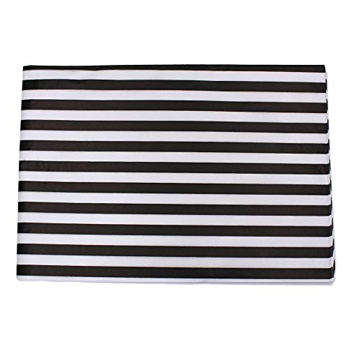 Black Shiny Stripe - Md trade Stripes Tissue Paper Stripes Wrapping Paper, Black and White, 28 Inch by 20 Inch, 30 Sheets