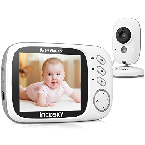 "Video Baby Monitor, incoSKY Wireless Digital Camera with Night Vision and Temperature Sensor,2 Way Talk,TU1 3.2"" White"