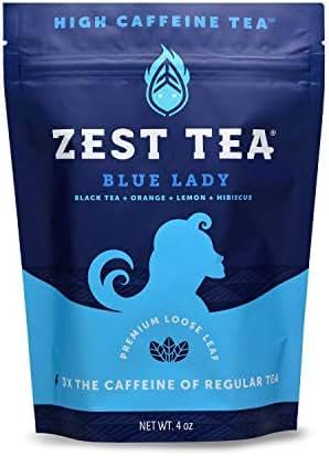 Zest Tea Premium Energy Hot Tea, High Caffeine Blend Natural & Healthy Traditional Black Coffee Substitute, Perfect for Keto, 150 mg Caffeine per Serving, Blue Lady Black Tea, 4 Oz Loose Leaf