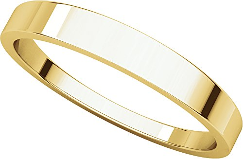 Mens 18K Yellow Gold, Flat Tapered Wedding Band 3MM (sz 9.5)