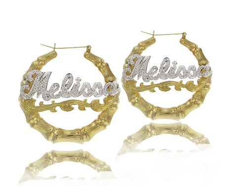Celebrity Style Bamboo Name Earrings w/ Yellow Gold Overlay and Diamond Beading Pattern