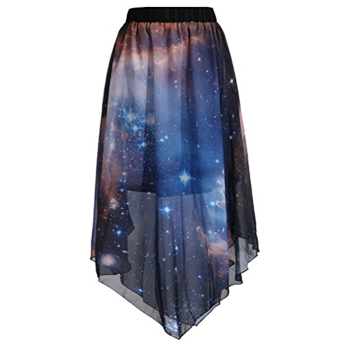 SAYM Women Pleated Chiffon Galaxy Cosmic Digital Printed Skirts ()