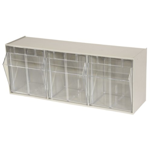 Akro-Mils 06703 TiltView Horizontal Plastic Storage System with Three Tilt Out Bins- 23-5/8-Inch Wide by 9-7/16-Inch High by 7-7/8-Inch Deep, Stone by Akro-Mils
