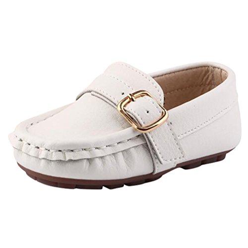 YiJee Kinder Slipper Mokassins Weiche Sohle Bootsschuhe Flache Schuhe Weiß