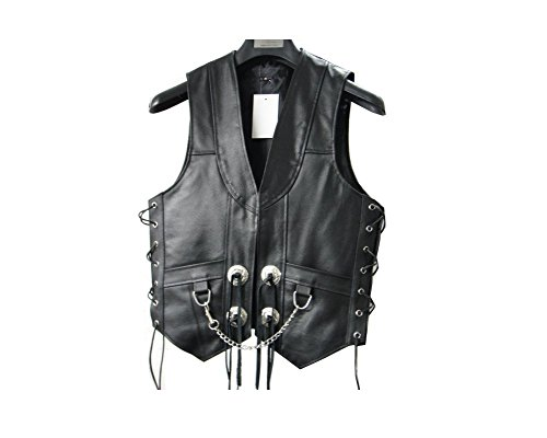 Biker Concho (Mens Leather Chain Concho Motorcycle Biker Vest lll-304 (Large Size (Chest)
