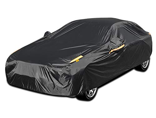 Color Rain Time UV Protection Car Cover Windproof Dustproof Scratch Resistant Outdoor Universal Full Car Covers for Sedan XL (Black, 191