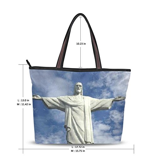Yuihome Women Rio's Symbolic Buildings Design Zipper Tote Bag Handbag