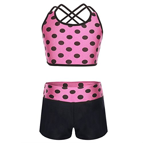 Alvivi Kids Girls 2 Piece Polka Dot Sports Strappy Crop Top Bra and Shorts set for Gymnastics Leotard or Swimwear
