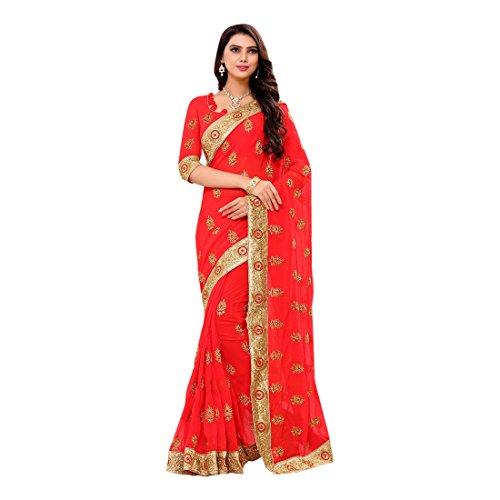 Vestito Sposa Sari Festa Jari Lavoro Bollywood Rossa Donna Georgette 2621 EMPORIUM etnica etnica ragazza ETNICO Sposa Indiana Sari tradizionale S54a5w