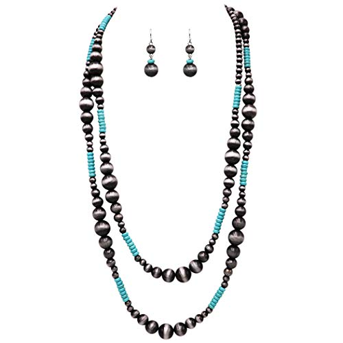 Rosemarie Collections Women's Extra Long Metallic Silver Tone and Turquoise Navajo Beaded Statement Necklace and Earrings Set