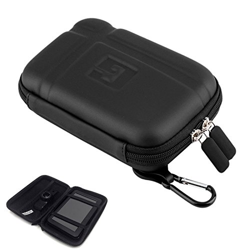 "5 Inch Hard Carrying Case Portable Hard Drive Case Hard GPS Bag with USB Cable Car Charger Mesh Pocket GPS Navigation Pouch for 5"" 5.2"" 5.5"" Garmin Nuvi Tomtom Magella Nintendo iPhone Eva Gps Carrying Case"