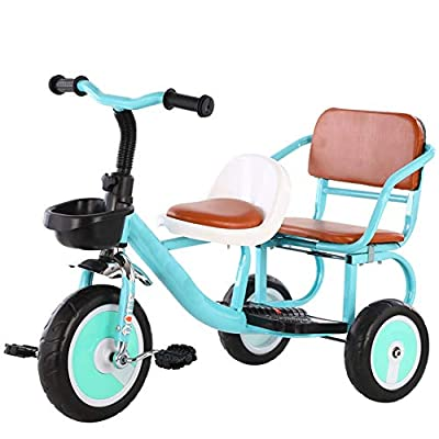 Song Radio Flyer Tricycle Two-Wheeled Tricycle Can Bring People Twin Stroller Baby Bike Two Seater Comfortable Soft Seat Baby Toy Gift (Color : Green): Home & Kitchen
