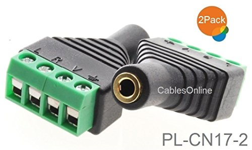 CablesOnline 2-Pack 3.5mm (1/8) Stereo TRRS Female Jack to AV 4-Screw Terminal Block Balun Connectors, PL-CN17-2