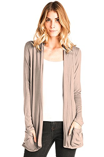 12 Ami Basic Long Sleeve Open Front Pocket Cardigan Beige XXL (Drape Front Knit)