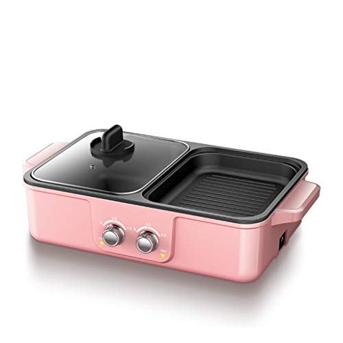 BBQ -The Electric Thai BBQ Barbecue and Hot Pot, Electric Grill 2 in 1, Electric Hot Pot Electric Barbecue Electric Baking Dish, Integrated Saucepan, Teppanyaki Electric Grill (Color : Pink)