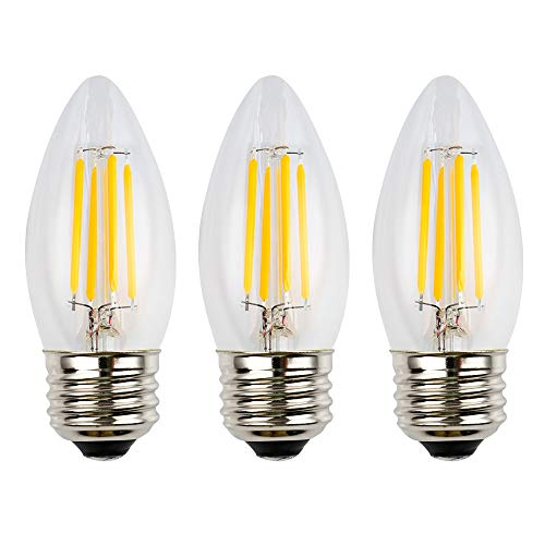 (OPALRAY 12 Volts Input 4W LED Filament Bulb, Dimmable with 12V DC Dimmer, E26 Medium Base, Clear Glass Torpedo Tip, Warm White Light, 40W Incandescent Replacement, for 12V Low Voltage Power, 3-Pack)