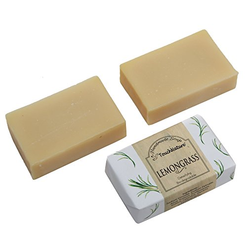 2 pieces 100gm Lemongrass Essential Oil Natural Soap. Free of SLS, SLES, Parabens and Carcinogenic ingredients.100% Bio-Degradable and Detoxifying. Anti-persirant, Natural Anti-Septic. NO CHEMICAL. by TOUCH NATURE HANDMADE SOAPS AND CANDLES