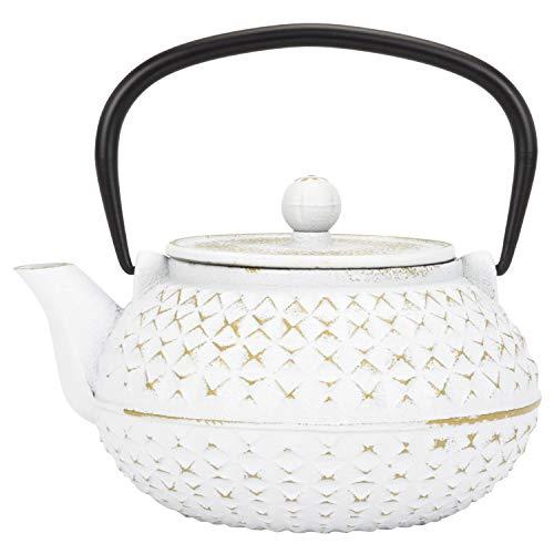 (Spigo Himeji Cast Iron Enamel Teapot With Stainless Infuser, White-Gold, 33 Ounces )