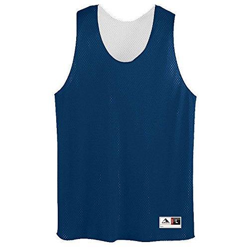 Augusta Sleeveless Sport Shirt - Augusta Sportswear Mens Tricot Mesh Tank, Navy/White, X-Large