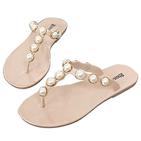 95227919c5a59e JAGENIE Women Shoes Flip Flops Faux Pearl Glitter Summer Bohemian Style  Beach Sandals Apricot 37  Amazon.co.uk  Kitchen   Home