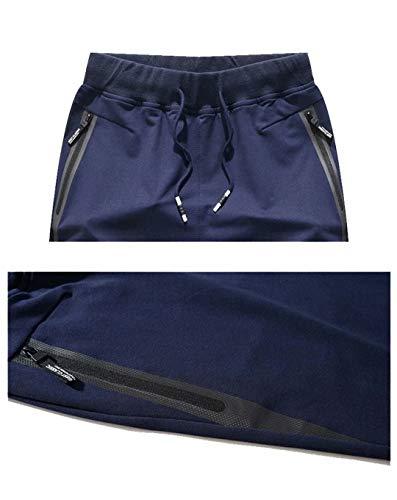 Tansozer Men's Shorts Casual Classic Fit Cotton Jogger Gym Shorts Elastic Waist Zipper Pockets (Black, Large) by Tansozer (Image #2)