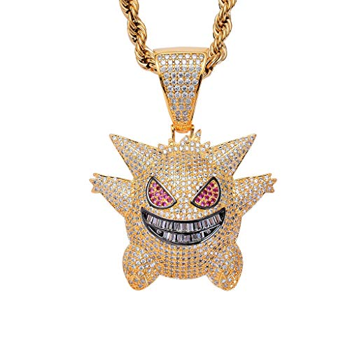 """LC8 Jewelry Men Hip Hop Iced Out Bling CZ Diamond Crystal Gengar Pendant 18K Gold and Silver Plated with 24"""" Stainless Steel Rope Chain (Gold Gengar)"""