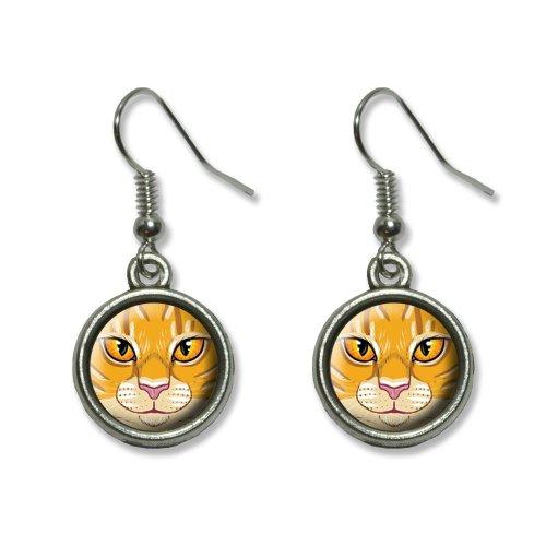 Orange Tabby Cat Face - Pet Kitty Novelty Dangling Dangle Drop Charm Earrings