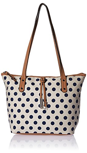 - Rosetti Annemarie Tote with Charm, Cream with Navy Polka Dots