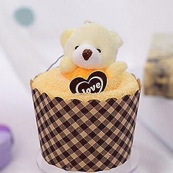 regalo de Navidad Cupcake con forma de oso Toalla (fibra de bambú, 30 * 30 cm), marfil, as described: Amazon.es: Hogar