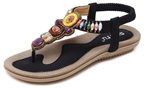 DolphinBanana colorful Summer Vacation T Strap Flat Sandals Black Open Toe Thongs Jewels Gem Beads Dressy Casual Daily Wear Flip Flop Fashion Design For Women Girls