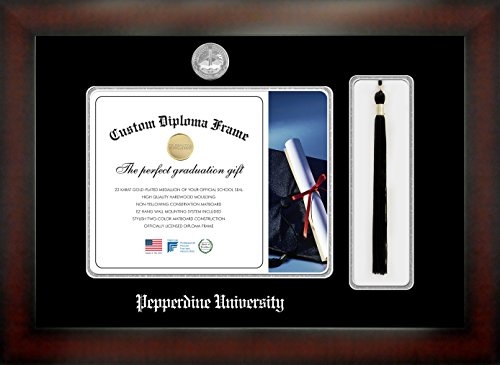 (Celebration Frames Pepperdine University 8½ x 11 Mahogany Finish Infinity Diploma Frame with Tassel Box)