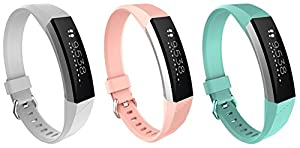 Special Design for Newest Fitbit Alta HR, BeneStellar Silicone Small & Large Replacement Band for Fitbit Alta HR and Alta With Metal Clasp (3-Pack Pink&White&Teal Blue, Large)