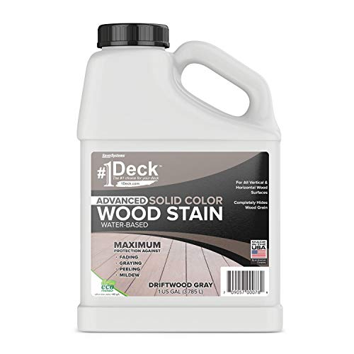 Wood Siding Stain - #1 Deck Advanced Solid Color Deck Stain for Decks, Fences, Siding - 1 Gallon (Driftwood Gray)