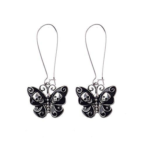 Unique Black Butterfly Skull Dangle Hook Drop Earrings (Dangle Skull)