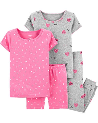 - Carter's Toddler and Baby Girls' 4 Piece Cotton Pajama Set, Hearts, 4T