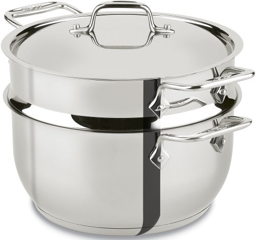 All-Clad E414S564 Stainless Steel Steamer Cookware, 5-Quart, Silver - 2100078498 (Stainless Steamer)