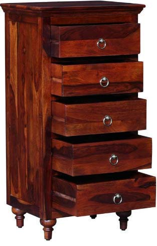 Shilpi Wooden Handmade Storage Chest Drawer Furniture with 5 Biggest Size Drawers in Brown Finishing