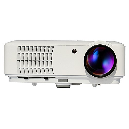 Multimedia Projector LED LCD Support HD PC USB HDMI AV VGA for Video Movie Child Games Entertainment TV with Remote Keystone Built-in Speakers White from EUG