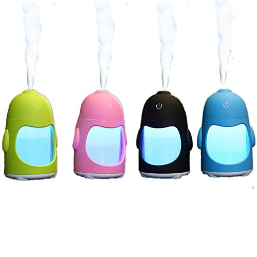 JUNFEI Penguin Night Light Air Purifier Cartoon Desktop USB Portable Silent Colorful Atomizing LED Table Lamp Mini for Kids, Baby,Car, Home, Bedroom, Bedside, Travel (Pink) by JUNFEI