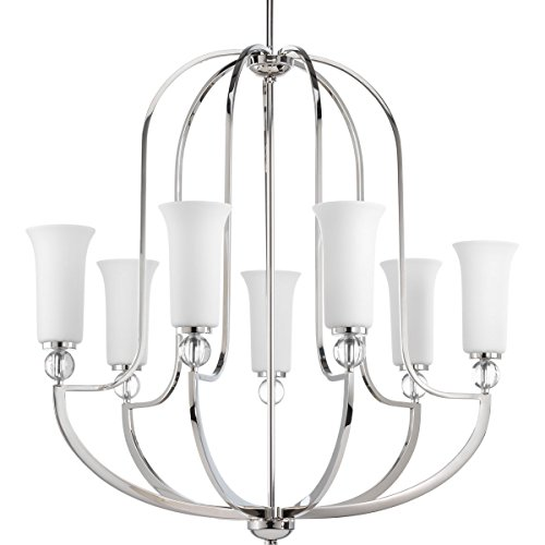 Progress Lighting P4733-104 Transitional Seven Light Pendant from Elina Collection in Polished Nickel Finish