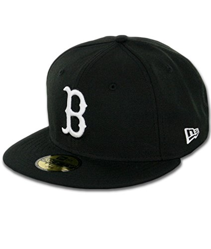 White 59fifty Cap (MLB Boston Red Sox Black with White 59FIFTY Fitted Cap, 7 3/8)
