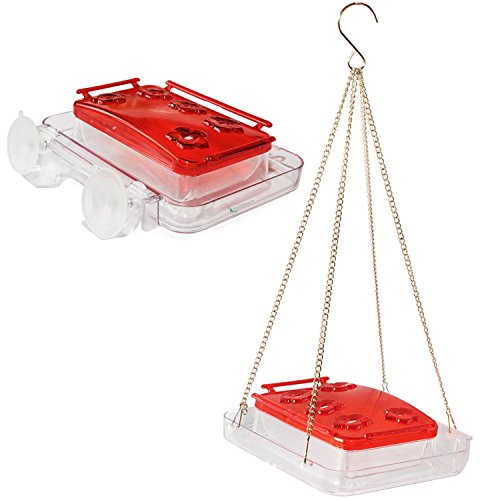 Sherwoodbase Cuboid 2 - Hummingbird Feeder 2 in 1, Attach to Window or Hang in Tree, Built-in Ant Moat, Bee Guards, and Detachable Lid for Easy Cleaning & Refills, with Cleaning Brush, 8 oz by Sherwoodbase