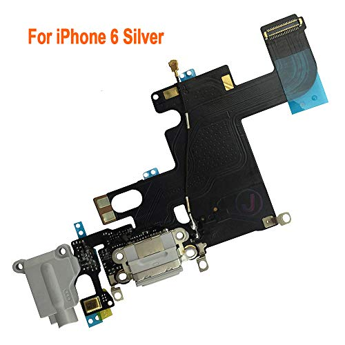 Johncase Charging Port Dock Connector Flex Cable w/Microphone + Headphone Audio Jack Port Ribbon Replacement Part Compatible iPhone 6 4.7 (Light Gray)
