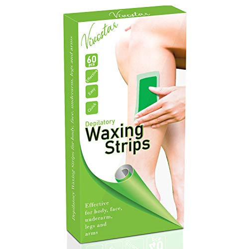Wax Strips,Hair Removal Wax Strips,Hair Remover Wax Kit for Face Leg Eyebrow Bikini Brazilian Underarm Women and Men, Waxing Strips with 60 Count Double Large Size Cold Wax Strips