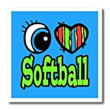 3dRose HT_106540_2 Bright Eye Heart I Love Softball-Iron on Heat Transfer for Material, 6 by 6-Inch, White