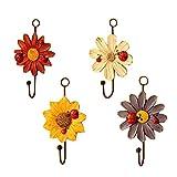 Set of 4 Flower Design Resin Coat Hooks