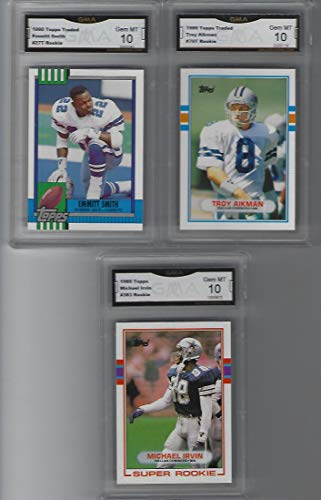 TOPPS TRADED EMMITT SMITH TROY AIKMAN MICHAEL IRVIN SUPER ROOKIE 3 ROOKIE CARD GEM 10 DALLAS SUPER BOWL - Rookie Smith Card